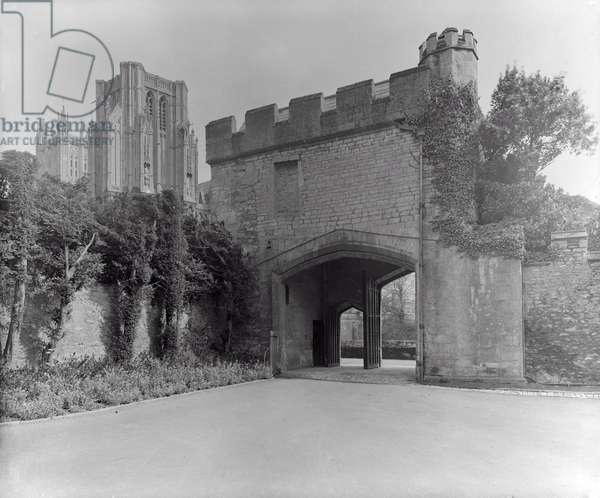 The Old Gatehouse, The Bishop's Palace, Wells (b/w photo)