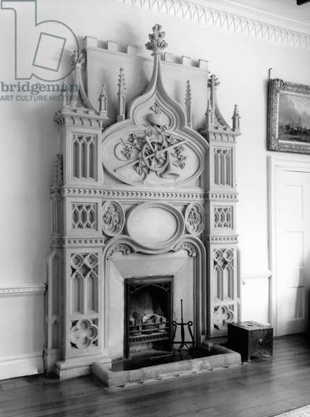 Chimneypiece at Stouts Hill, Gloucestershire, from 'Country Houses of the Cotswolds' (b/w photo)