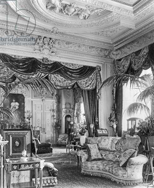 Principal Drawing Room, Sandringham, Norfolk, from 'The English Country House' (b/w photo)
