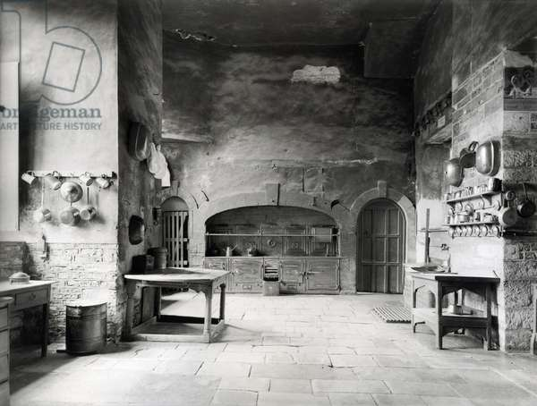 The old kitchen, Canons Ashby, Northamptonshire, 1921, from 'The English Country House' (b/w photo)