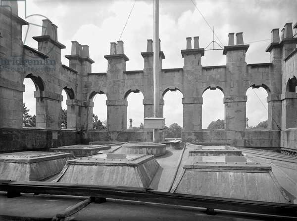 The chimney arcading, Kings Weston House, Bristol, from 'The Country Houses of Sir John Vanbrugh' by Jeremy Musson, published 2008 (b/w photo)