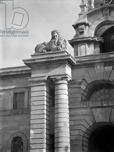 Sculpture above the kitchen court gateway, Blenheim Palace, from 'The Country Houses of Sir John Vanbrugh' by Jeremy Musson, published 2008 (b/w photo)