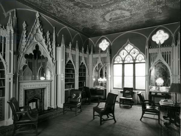Walpole's Library, Strawberry Hill, Middlesex, from '100 Favourite Houses' (b/w photo)