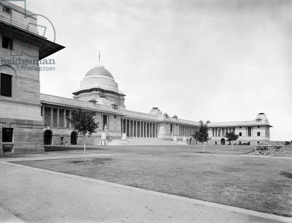 The east front of the Viceroy's House in New Dehli looking across the forecourt towards the north-east wing, from 'Edwin Lutyens: Country Houses' (b/w photo)
