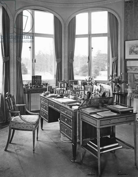 Queen Mary's desk, Sandringham, Norfolk, from 'The English Country House' (b/w photo)