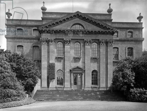 The entrance front, Kings Weston House, Bristol, from 'The Country Houses of Sir John Vanbrugh' by Jeremy Musson, published 2008 (b/w photo)