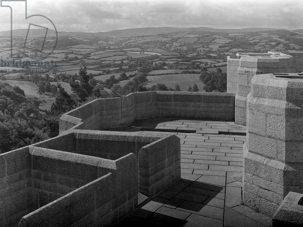 Looking south from the battlements of Castle Drogo, from 'Edwin Lutyens: Country Houses' (b/w photo)