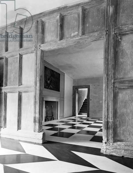 Tiled flooring at Plumpton Place, from 'Edwin Lutyens: Country Houses' (b/w photo)