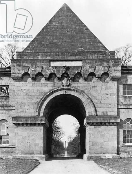 The second archway and hostelry building, Castle Howard, from 'The English Country House' (b/w photo)