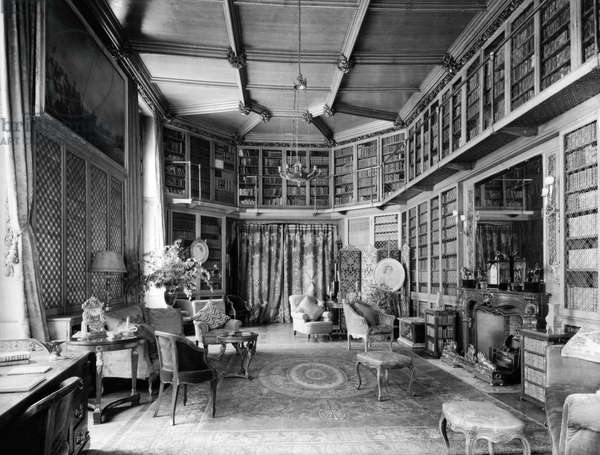 The library, Highcliffe Castle, Hampshire, from 'England's Lost Houses' by Giles Worsley (1961-2006) published 2002 (b/w photo)