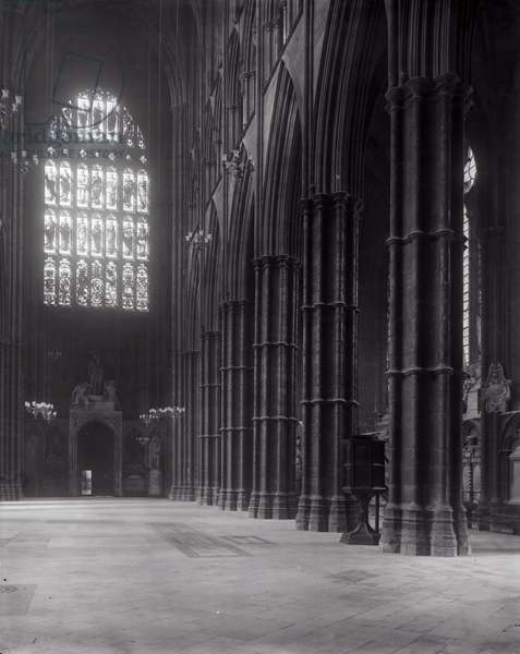 Interior of Westminster Abbey looking towards the west entrance (b/w photo)