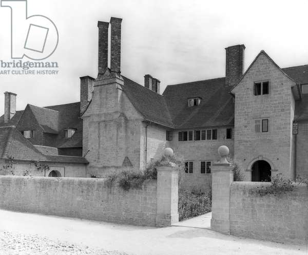 The entrance front of Little Thakeham, from 'Edwin Lutyens: Country Houses' (b/w photo)
