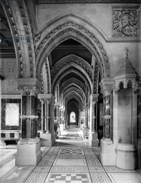 A corridor at Eaton Hall, Cheshire, from 'The English Country House' (b/w photo)