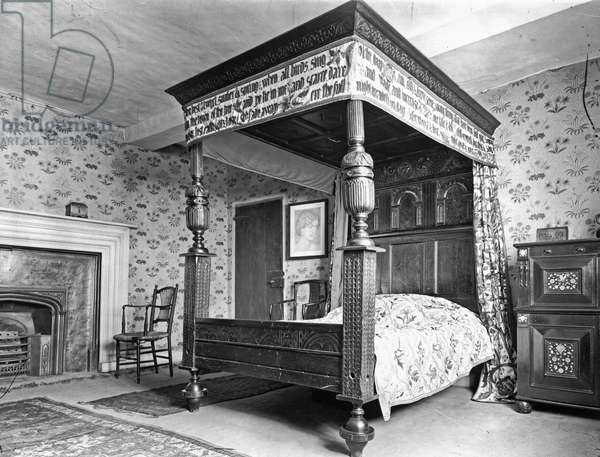 William Morris's Bedroom, Kelmscott Manor, Oxfordshire, from 'The English Country House' (b/w photo)