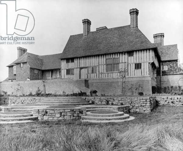The south side of Great Dixter with Benenden House in the foreground, from 'Edwin Lutyens: Country Houses' (b/w photo)