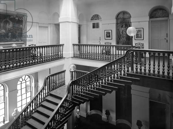The staircase at Kings Weston House, Bristol, from 'The Country Houses of Sir John Vanbrugh' by Jeremy Musson, published 2008 (b/w photo)