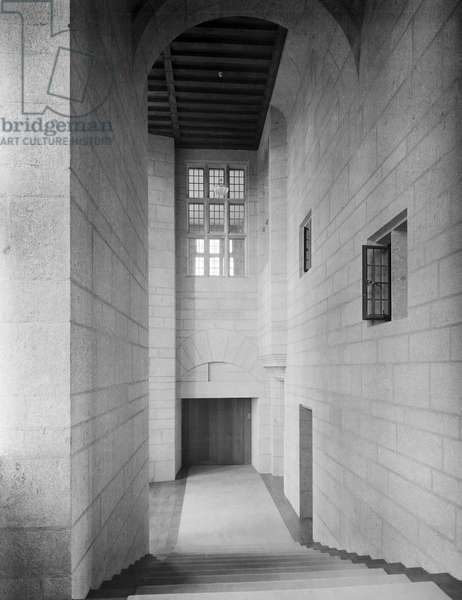 The staircase down to the dining room at Castle Drogo, from 'Edwin Lutyens: Country Houses' (b/w photo)