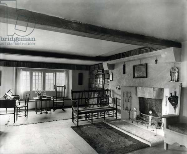 Interior at Mr Gimson's House, Sapperton, Gloucestershire, from 'The English Manor House' (b/w photo)