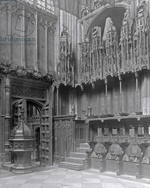 Interior of Henry VII's Lady Chapel, Westminster Abbey (b/w photo)