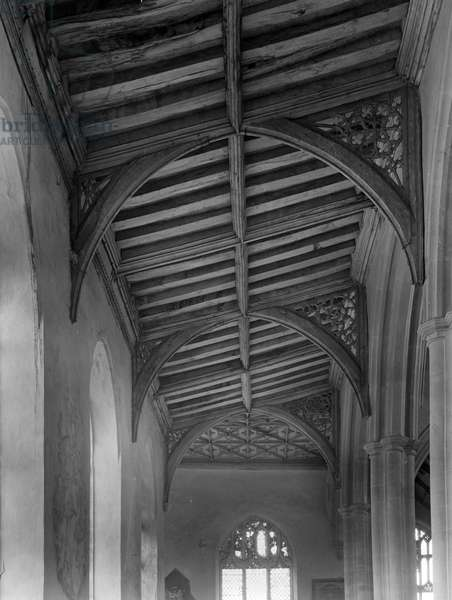 Ceiling of the Side Aisle, St Peter and St Paul's Church (b/w photo)
