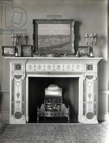Fireplace in the Etruscan room at Home House, 20 Portman Square, from 'The Country Houses of Robert Adam', by Eileen Harris, published 2007 (b/w photo)