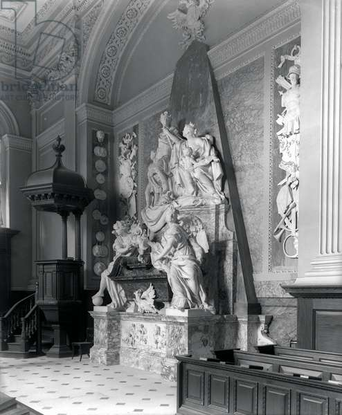Monument to the 1st Duke of Marlborough in the Chapel at Blenheim Palace, Oxfordshire, from 'The Country Houses of Sir John Vanbrugh' by Jeremy Musson, published 2008 (b/w photo)