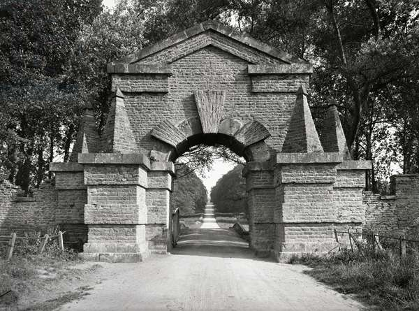 The Carrmire Gate at Castle Howard, North Yorkshire, from 'The Country Houses of Sir John Vanbrugh' by Jeremy Musson, published 2008 (b/w photo)