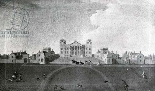 Bubb Dodington entering the forecourt at Eastbury Park, c.1760 (oil on canvas) (b/w photo)