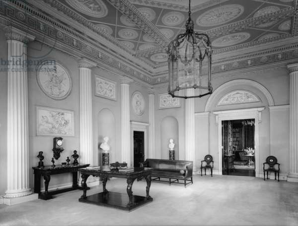 The entrance hall at Harewood House, Yorkshire, from 'The Country Houses of Robert Adam', by Eileen Harris, published 2007 (b/w photo)