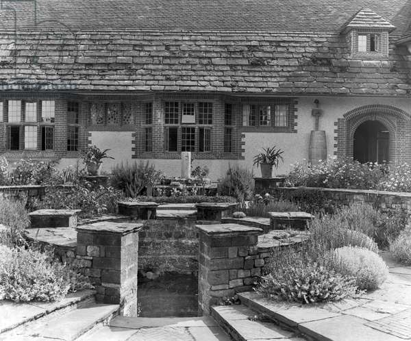 The dipping well in the garden at Goddards, from 'Edwin Lutyens: Country Houses' (b/w photo)