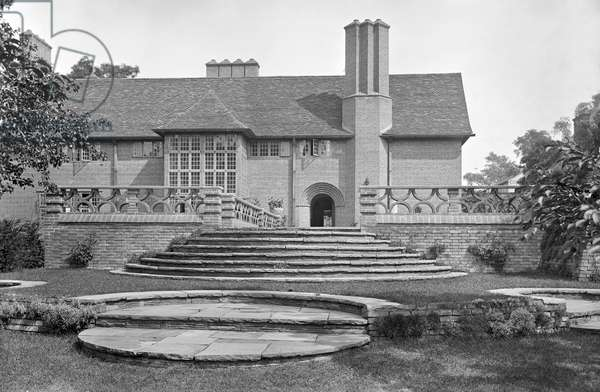 The orchard steps at Deanery Garden, from 'Edwin Lutyens: Country Houses' (b/w photo)