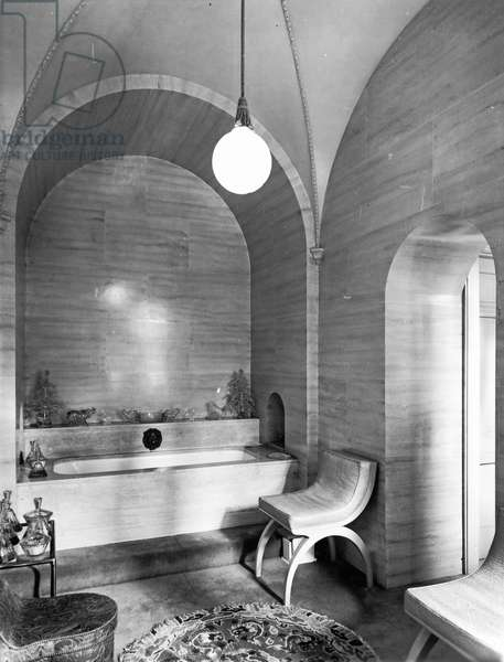 A bathroom dating from 1920s, Eaton Hall, Cheshire, from 'The English Country House' (b/w photo)