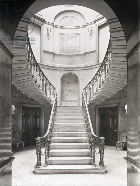 The great circular staircase at Home House, 20 Portman Square, London, from 'The Country Houses of Robert Adam', by Eileen Harris, published 2007 (b/w photo)
