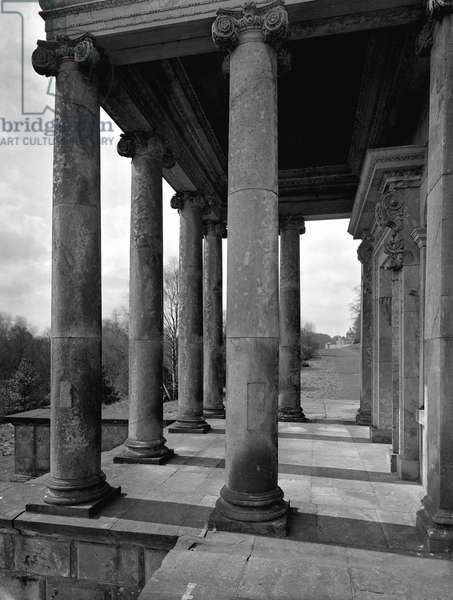 The portico of the Temple of the Four Winds, Castle Howard, North Yorkshire, from 'The Country Houses of Sir John Vanbrugh' by Jeremy Musson, published 2008 (b/w photo) (see 306296)