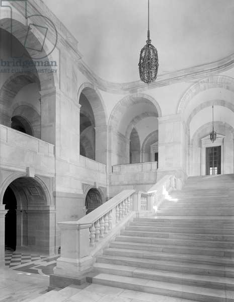 Looking up the south main staircase at the Viceroy's House, from 'Edwin Lutyens: Country Houses' (b/w photo)