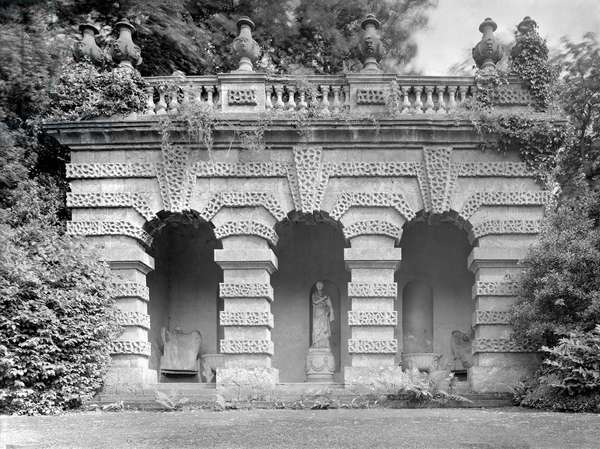 The banqueting loggia opposite the east front, Kings Weston House, Bristol, from 'The Country Houses of Sir John Vanbrugh' by Jeremy Musson, published 2008 (b/w photo)