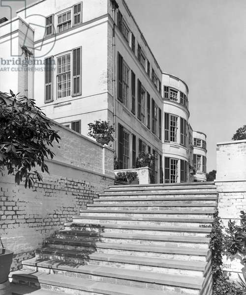 The steps from the lower lawn to the garden front of Nashdom, from 'Edwin Lutyens: Country Houses' (b/w photo)