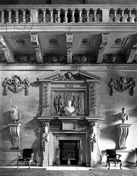 The chimneypiece in the Stone Hall, Houghton Hall, Norfolk, from 'The English Country House' (b/w photo)