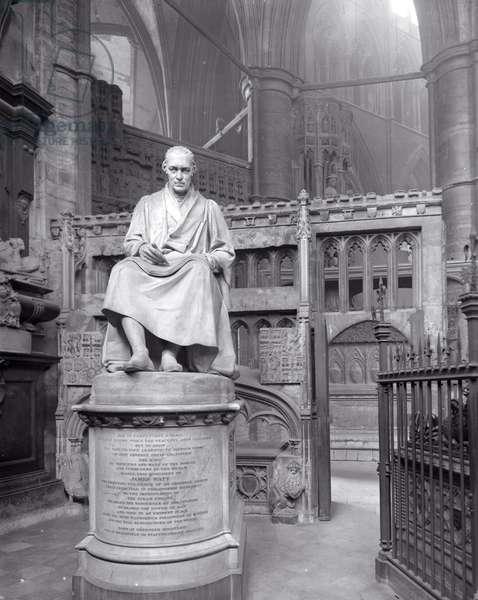 Monument to James Watt in St Paul's Chapel, Westminster Abbey, London (b/w photo)