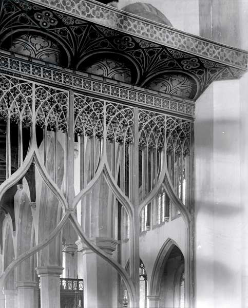Detail of a rood screen, St Mary's Church, Worstead, Norfolk (b/w photo) (see 294226)