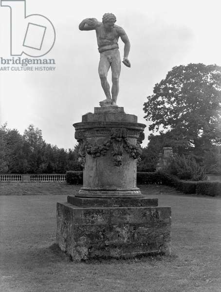 The Cymbal Player, sculpture in the great parterre at Castle Howard, North Yorkshire, from 'The Country Houses of Sir John Vanbrugh' by Jeremy Musson, published 2008 (b/w photo)