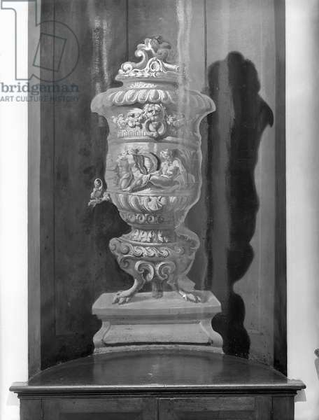 A painted urn in a niche in the staircase hall, Kings Weston House, Bristol, from 'The Country Houses of Sir John Vanbrugh' by Jeremy Musson, published 2008 (b/w photo)