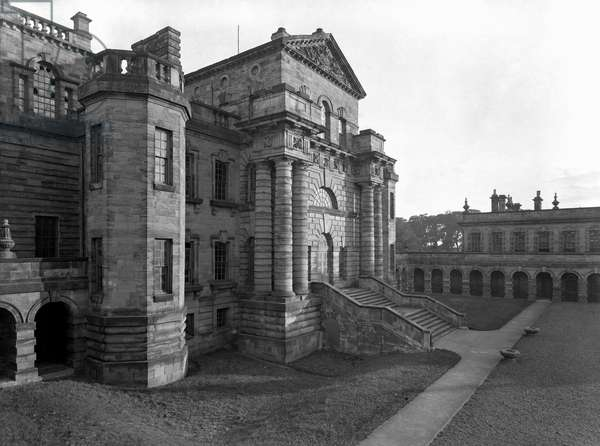 The north front, Seaton Delaval, from 'The Country Houses of Sir John Vanbrugh' by Jeremy Musson, published 2008 (b/w photo)