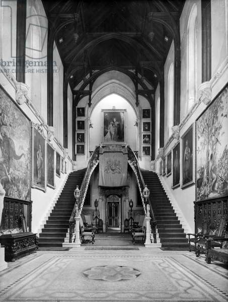 The hall, Highcliffe Castle, Hampshire, from 'England's Lost Houses' by Giles Worsley (1961-2006) published 2002 (b/w photo)