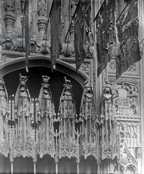 Detail of the interior of Henry VII's Lady Chapel, Westminster Abbey (b/w photo)