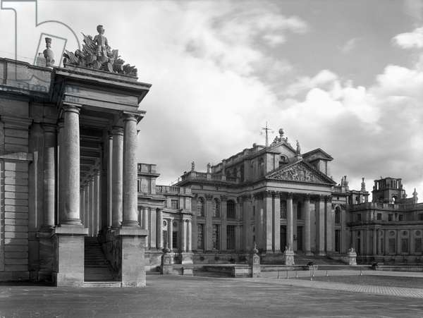 The north portico at Blenheim Palace, from 'The Country Houses of Sir John Vanbrugh' by Jeremy Musson, published 2008 (b/w photo)