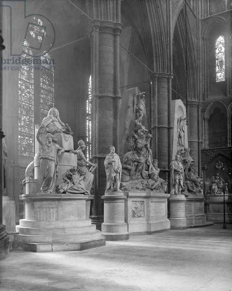 Interior of Westminster Abbey with statues of eminent figures buried there (b/w photo)