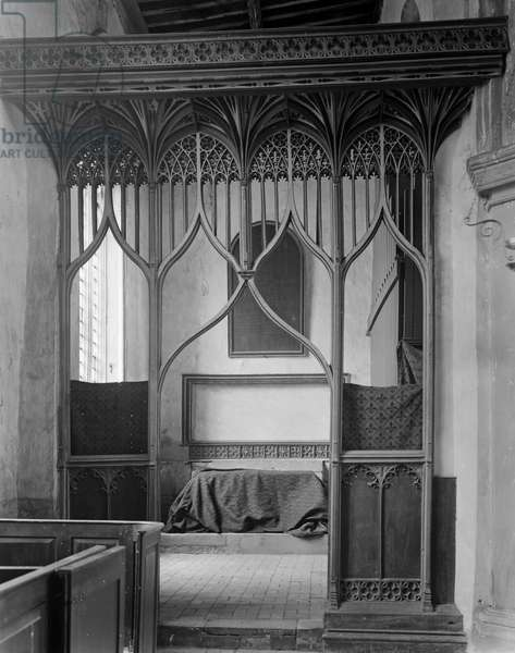 Parclose screen, St Mary's Church, Worstead, Norfolk (b/w photo)