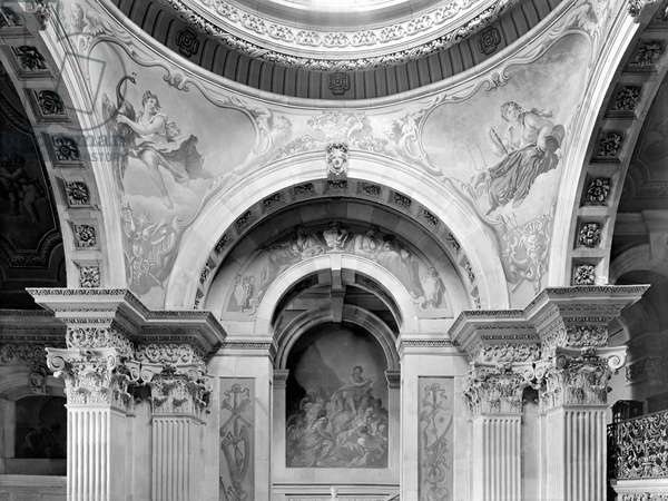 Detail of the Great Hall ceiling and pendentives, Castle Howard, North Yorkshire, from 'The Country Houses of Sir John Vanbrugh' by Jeremy Musson, published 2008 (b/w photo)