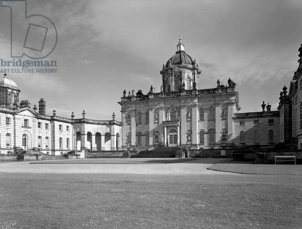 The north entrance front, Castle Howard, North Yorkshire, from 'The Country Houses of Sir John Vanbrugh' by Jeremy Musson, published 2008 (b/w photo)